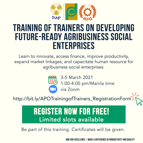 Training of Trainers on Developing Future-ready Agribusiness Social Enterprises_03-05 March 2021